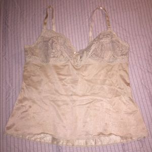 Vintage adjustable strap lace and satin camisole